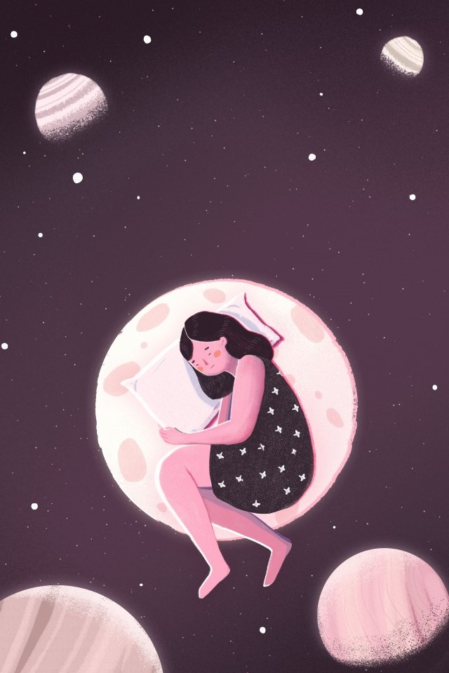 night at night good night fresh, Illustration, Hand Painted, Starry Sky illustration image