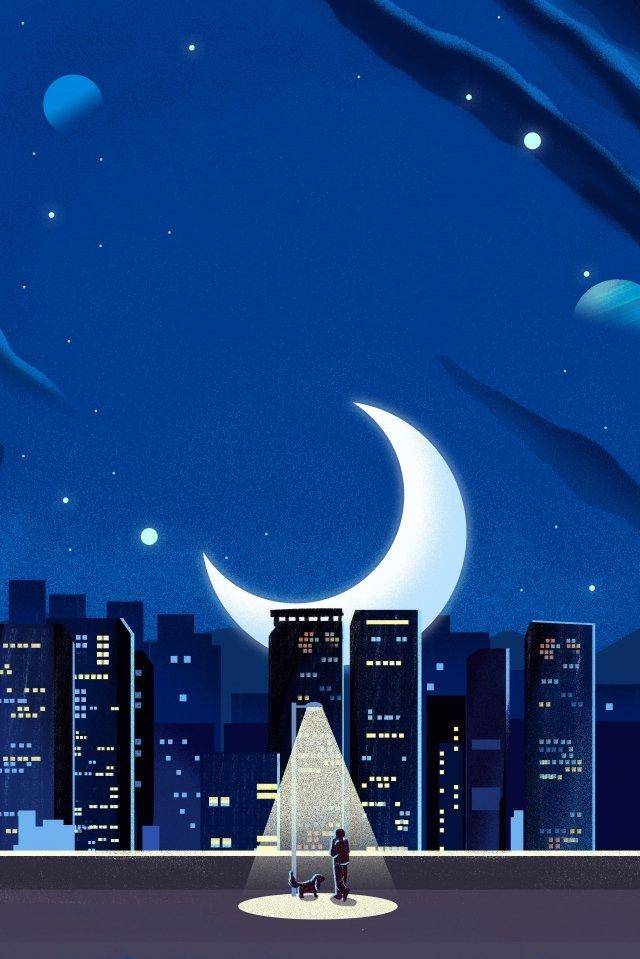 night at night good night fresh, Illustration, Hand Painted, City illustration image