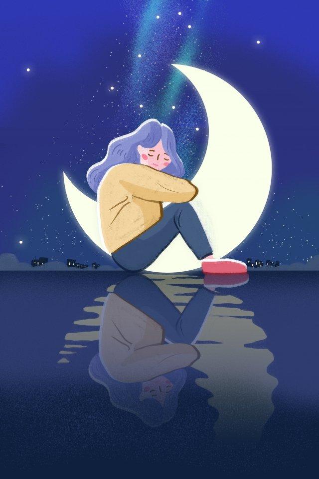 夜の夜おやすみなさい イラストレーション画像 イラスト画像