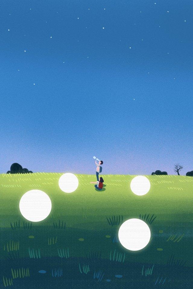 night at night good night fresh, Illustration, Hand Painted, Star illustration image