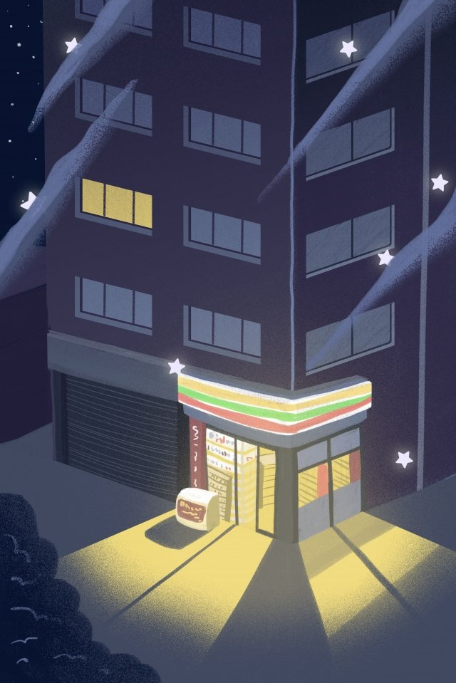 night at night good night fresh, Illustration, Hand Painted, Convenience Store illustration image