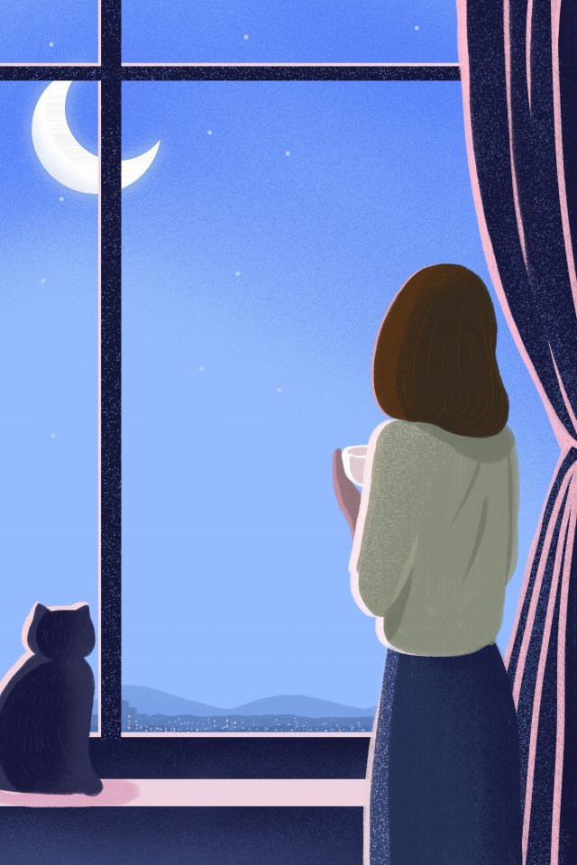 night at night good night fresh, Night View, Moon, Girl illustration image