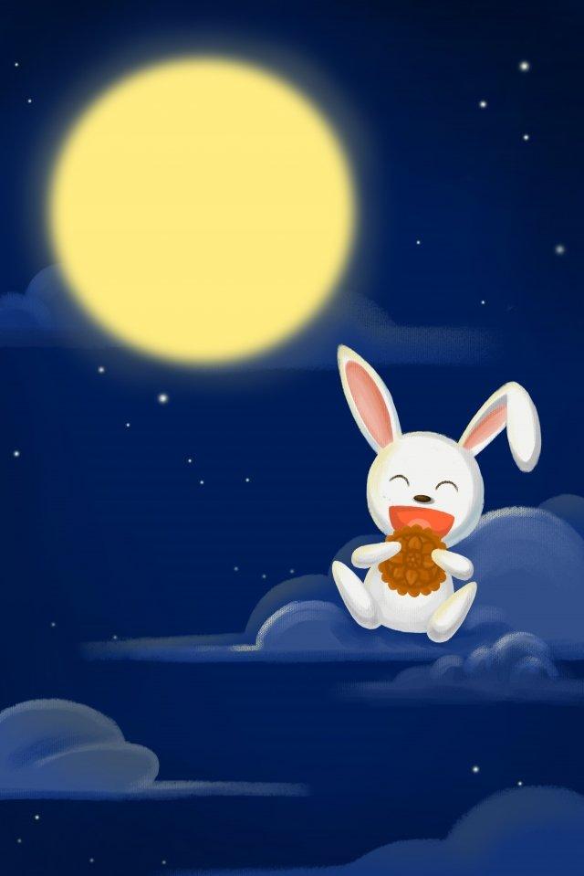 night moon rabbit solar terms llustration image