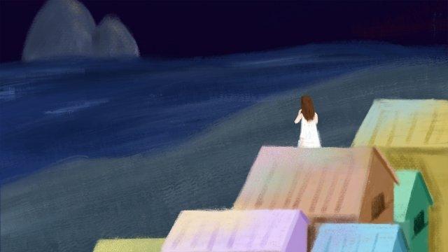 夜の海辺の静かなミス イラスト素材 イラスト画像