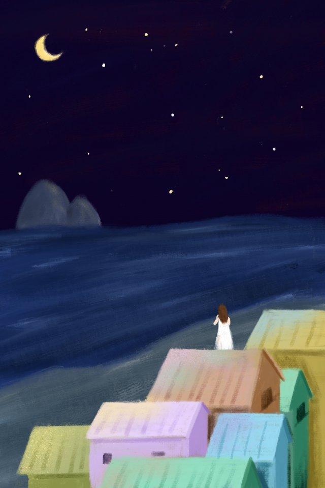夜の海辺の静かなミス イラスト素材
