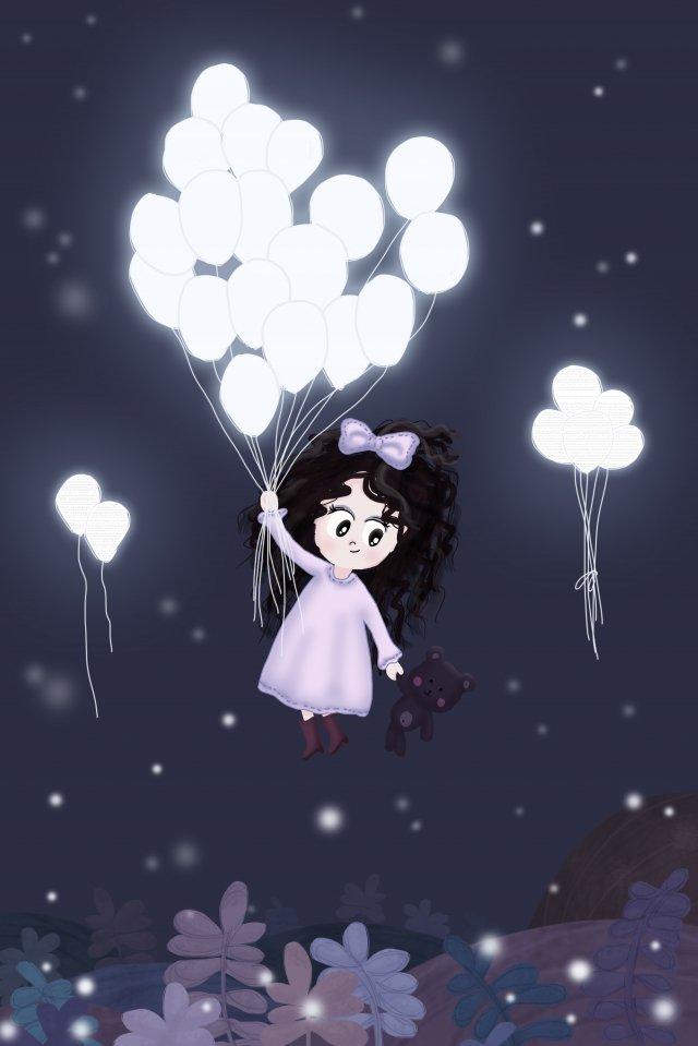 밤 하늘 조명 흰색 풍선 풍선 그림 이미지