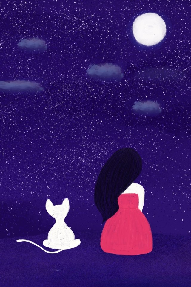 night sky star moon accompany llustration image