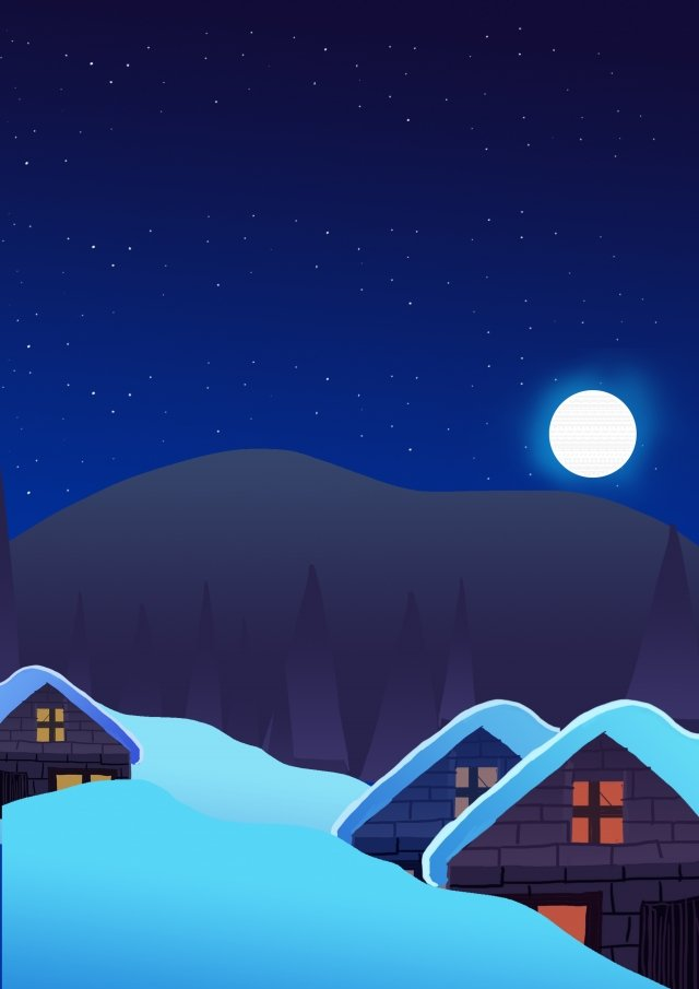 night starry sky moon cabin, Travel, Snow Scene, Winter illustration image