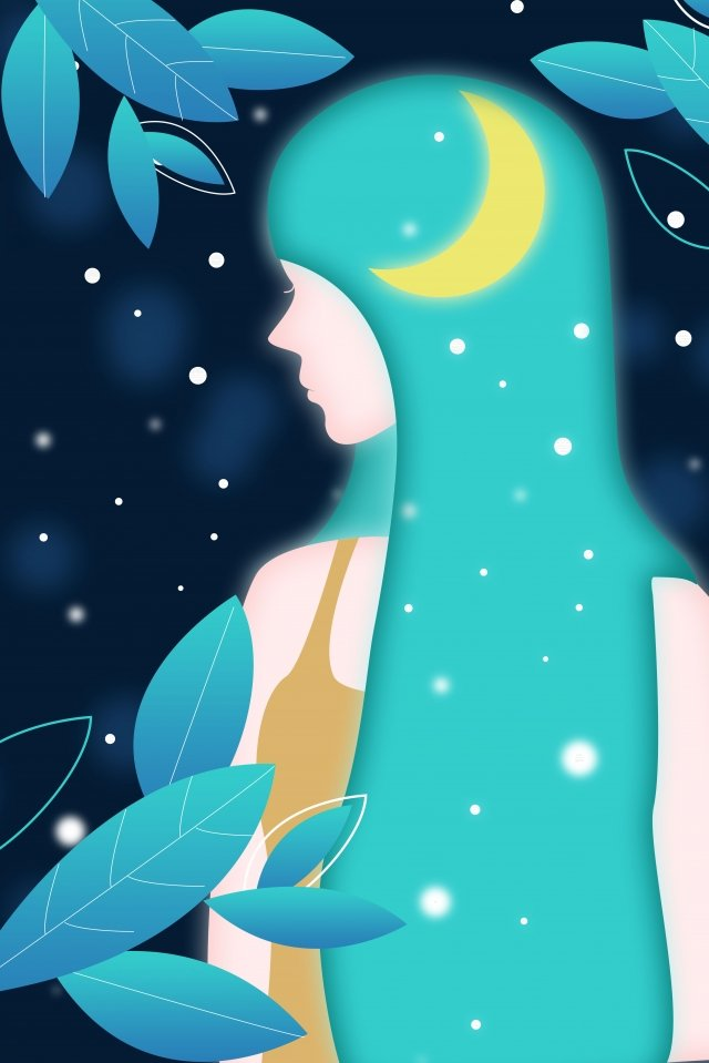 night starry sky night sky dream girl, Creative Illustration, Glowing Girl, Long Hair illustration image