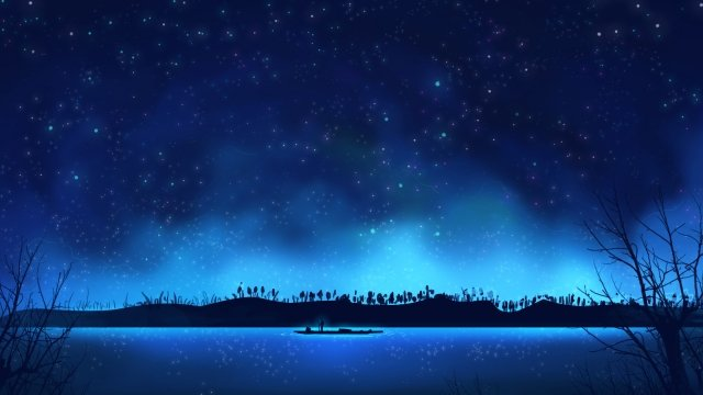 night starry sky starry sky star hand painted, Blue, Night Starry Sky, Starry Sky illustration image