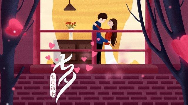 夜の七夕恋人カップル イラストレーション画像 イラスト画像