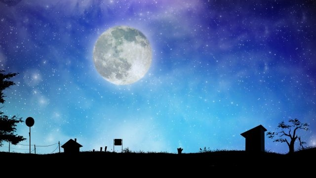 night view moon starry sky night, Moonlight, Middle, Night illustration image