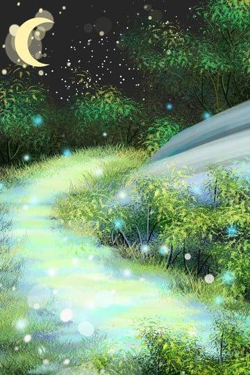 夜景月光道干し草の山 イラスト画像