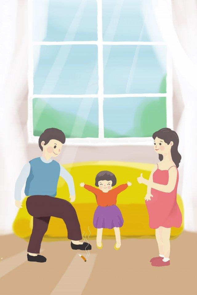 não fumar dia cuidando da saúde da família não fumar pisa no cigarro Material de ilustração Imagens de ilustração