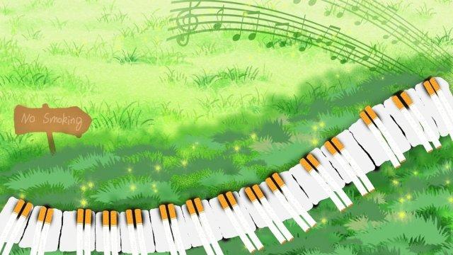 禁煙の日中喫煙中のピアノ音楽 イラスト素材