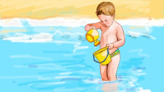 Ocean Beach Blue Enfant image d'illustration