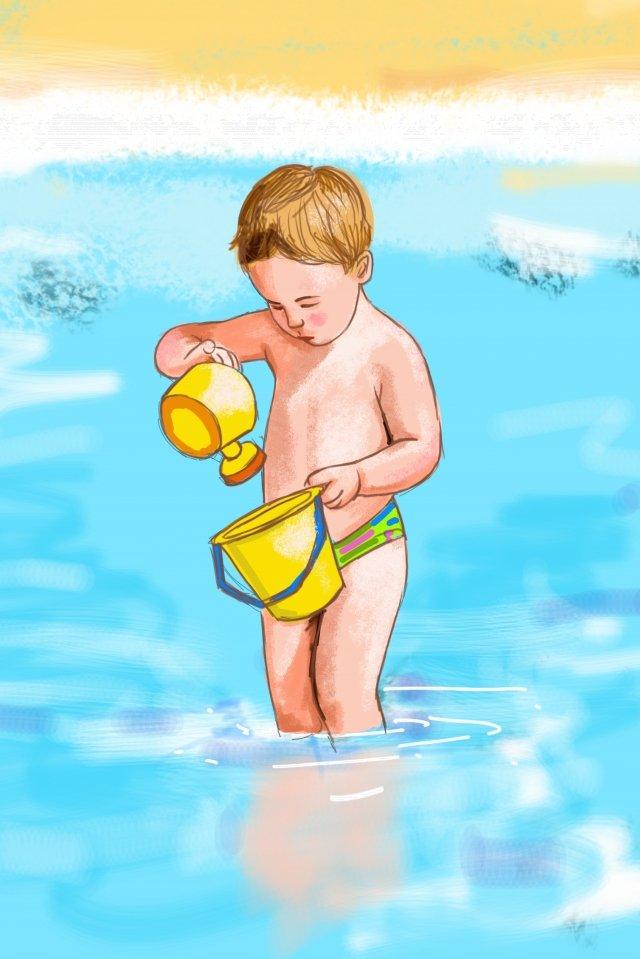 شاطئ المحيط الأزرق الطفلالصيف  طازج  توضيح PNG و PSD illustration image