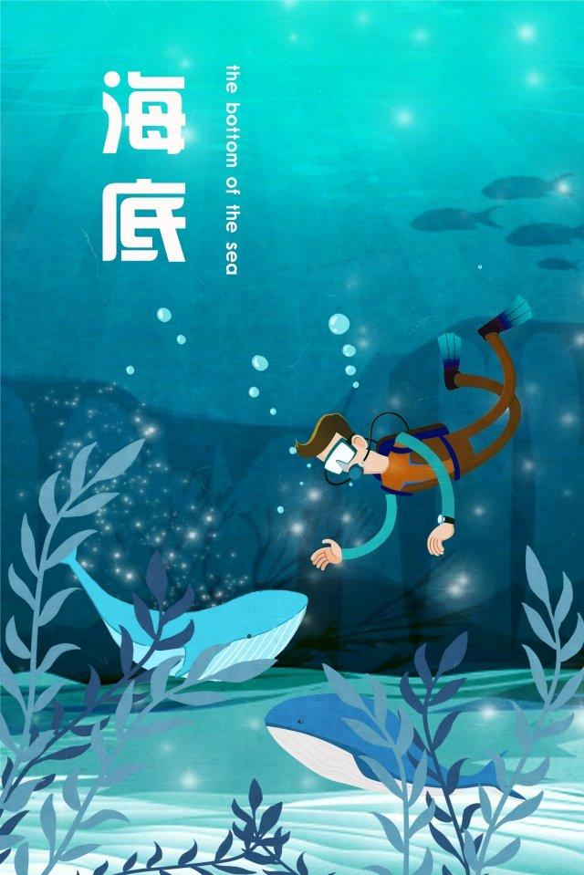 ocean diving seabed water grass, Whale, Dark Blue, Ocean illustration image