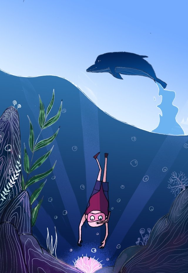 ocean dolphin blue sea, Beautiful, Romantic, Treasure Hunt illustration image