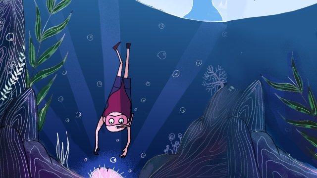 海洋海豚藍色海 插畫素材 插畫圖片