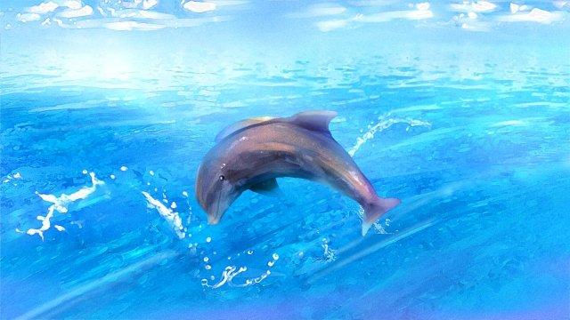바다 돌고래 푸른 하늘 물 꽃 삽화 소재 삽화 이미지