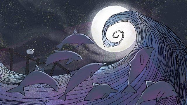 海洋夢月亮波 插畫素材 插畫圖片