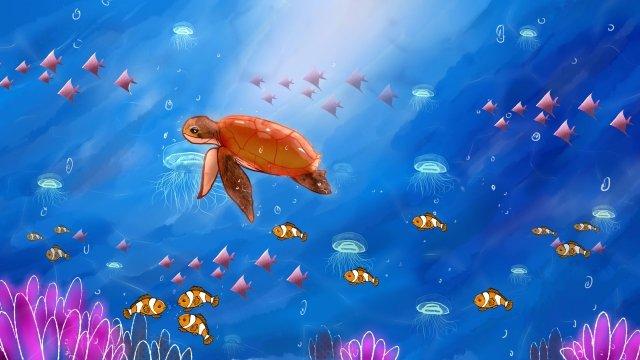 ocean fish coral turtle llustration image