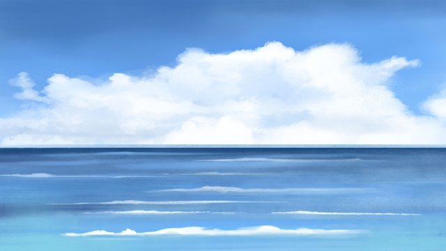 ocean hand painted blue sky, Clouds, Ocean, Hand Painted illustration image