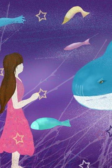 海の手描きの紫色の夢 イラスト素材