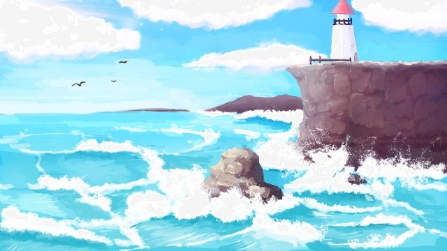 ocean landscape hand painted fresh, Ocean, Landscape, Hand Painted illustration image