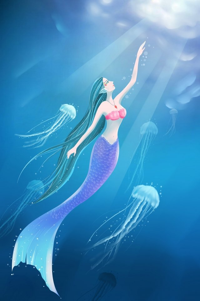 ocean mermaid jellyfish free, Ocean, Mermaid, Jellyfish illustration image