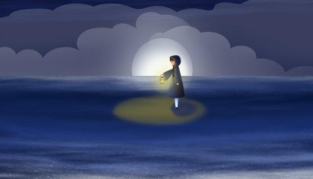 समुद्र रात आकाश लड़की तेल दीपक चित्रण छवि चित्रण छवि