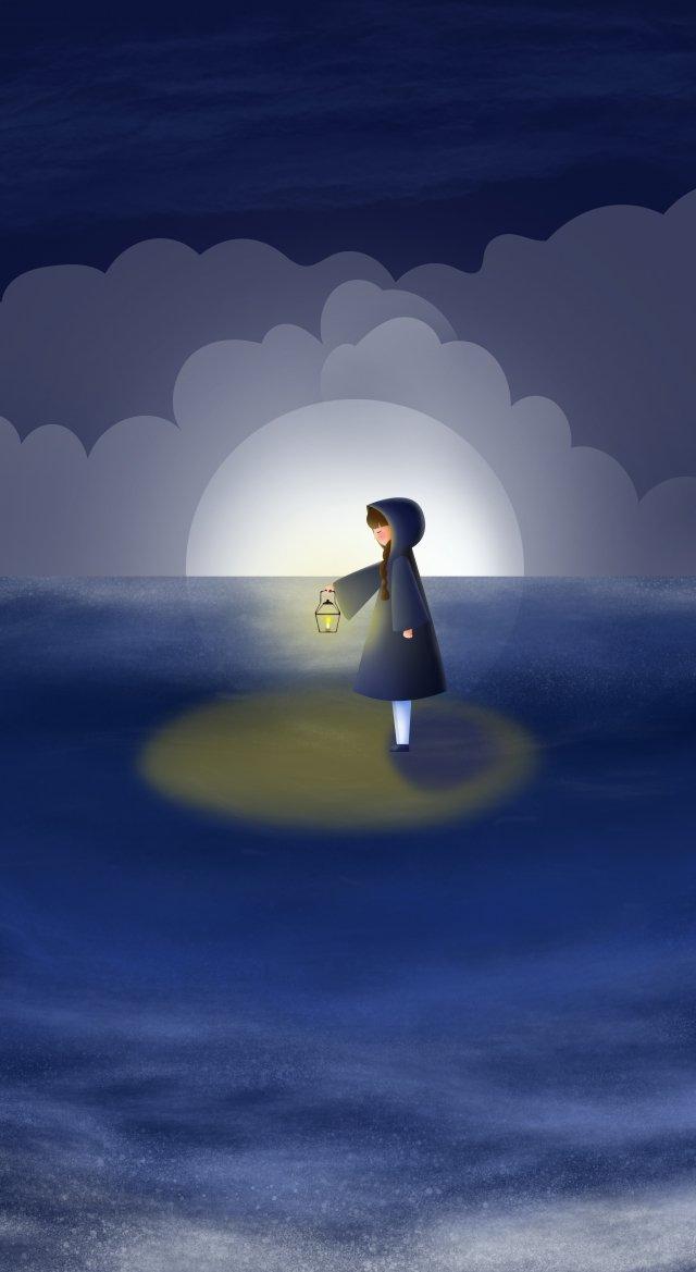 समुद्र रात आकाश लड़की तेल दीपक चित्रण छवि
