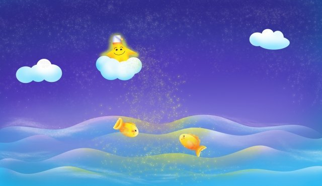 ocean night sky starry sky star, Cloud Layer, Fish, Wave illustration image