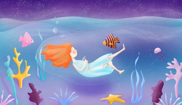 海洋夜空滿天星斗的天空之星 插畫素材