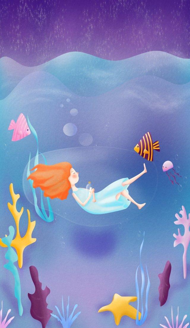 ocean night sky starry sky star, Girl, Fish, Wave illustration image