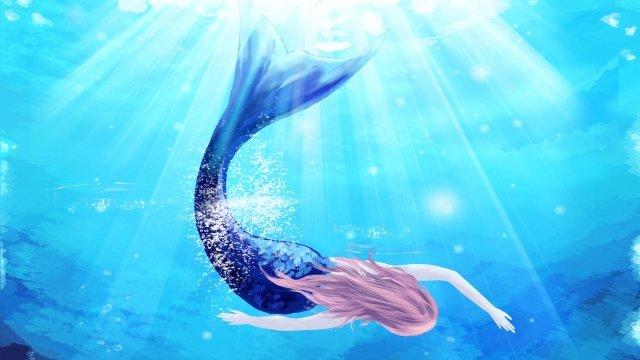 ocean sea mermaid deep sea, Beautiful, Transparent, Quiet illustration image