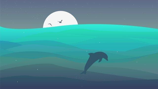 바다 바다 바다 파도 삽화 소재 삽화 이미지