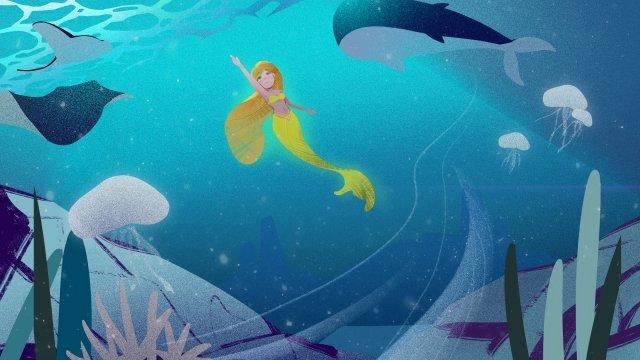 해저 인어 공주 블루 삽화 소재