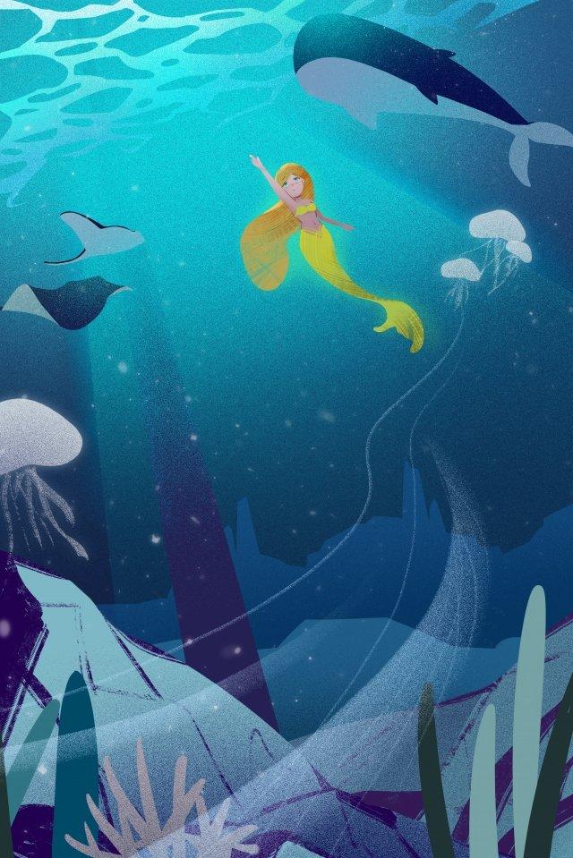 ocean seabed mermaid blue, Whale, Skate, Illustration illustration image