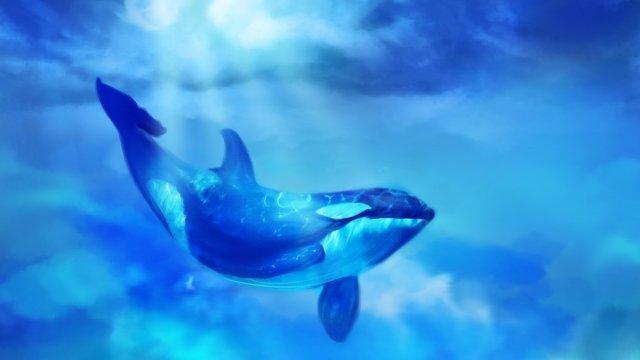 海のクジラの夢のイラスト 海 クジラ 夢 治療法 不思議な 紺碧海  クジラ  夢 PNGおよびPSD illustration image