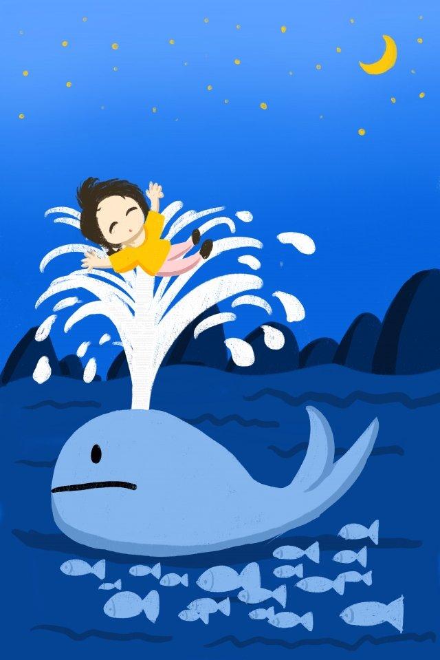 海洋鯨遠山月亮 插畫素材