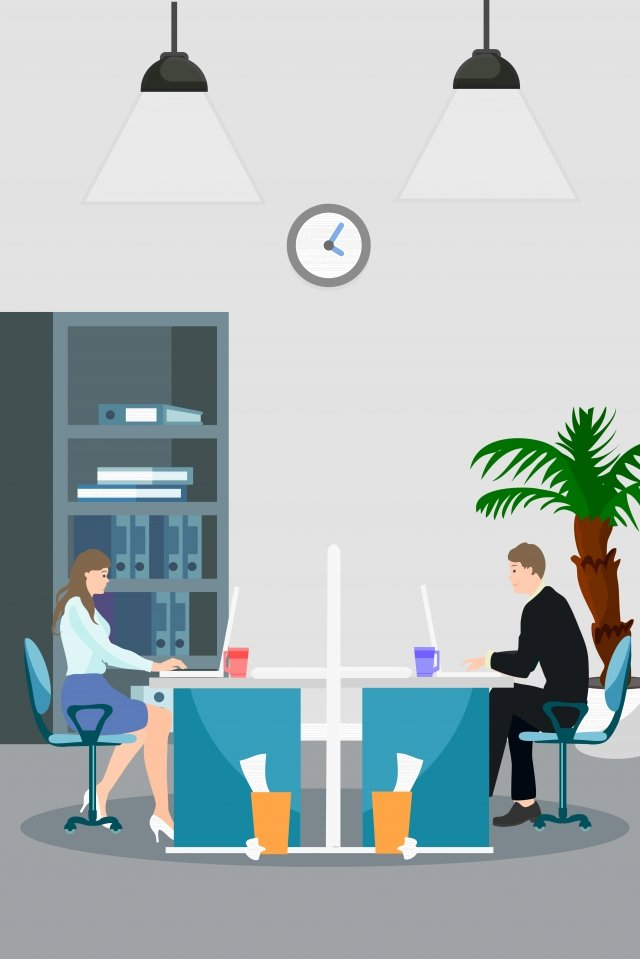 office business illustration cartoon, Office Worker, Workplace, Working Area illustration image