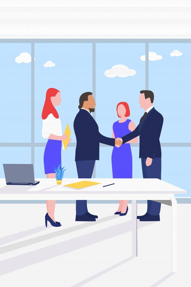 office business win-win handshake, Desk, Simple, Business illustration image