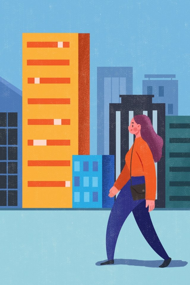 office go to work road high building illustration image