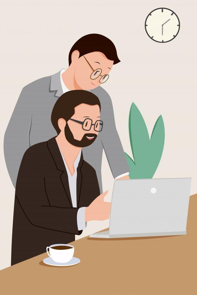 escritório membro da equipe discussão trabalho troca de opiniões Material de ilustração
