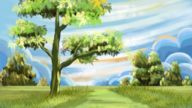 oil painting hand painted illustration spring, Landscape, Spring Background, Grassland illustration image
