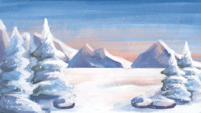 油絵風景手描きの冬 イラスト素材