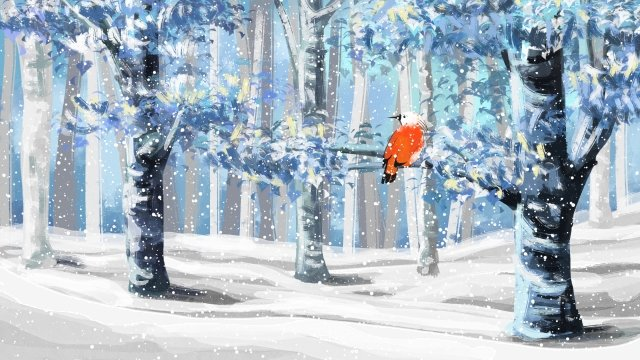 油絵冬冬の風景 イラスト素材