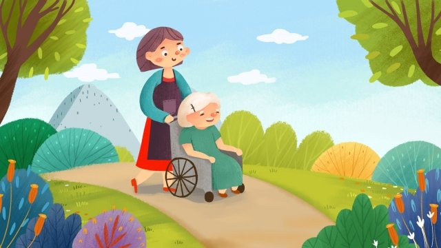 老人の孝行愛愛ベビーシッター イラスト素材 イラスト画像